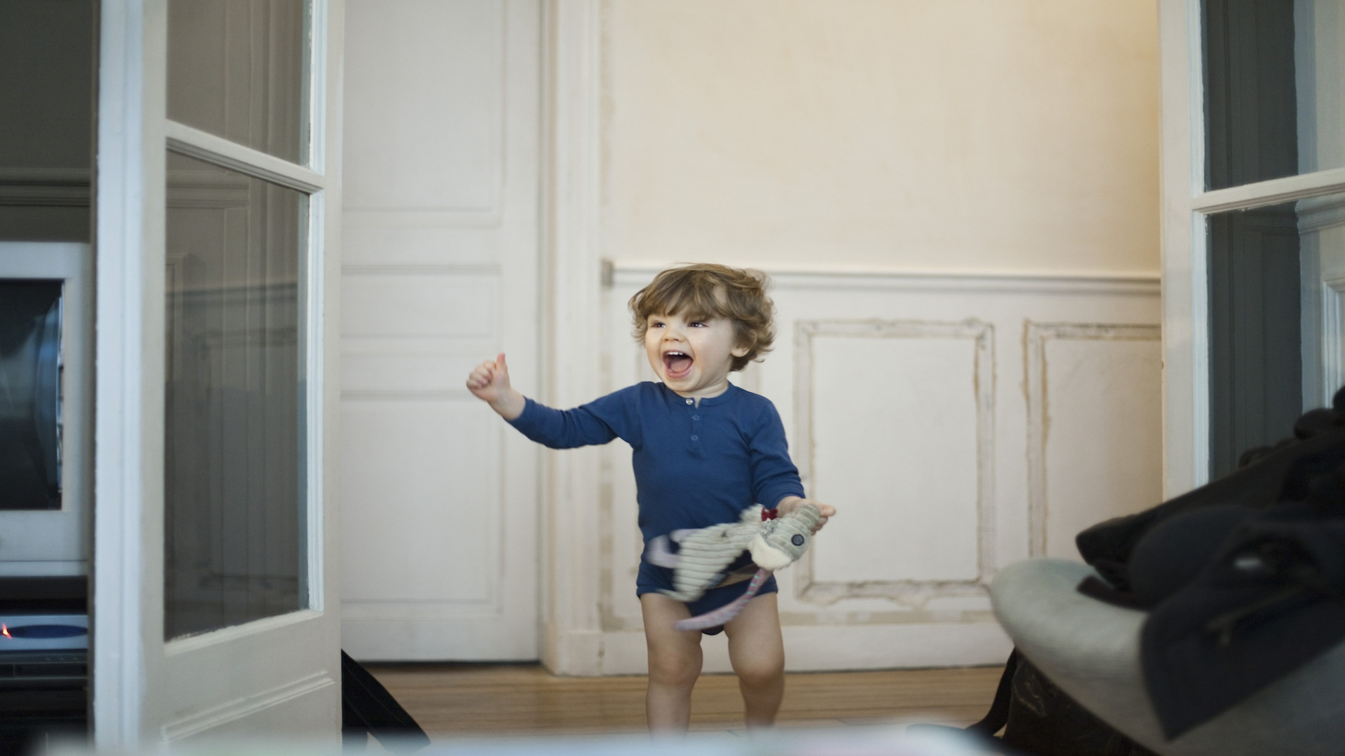 Happy toddler laughing