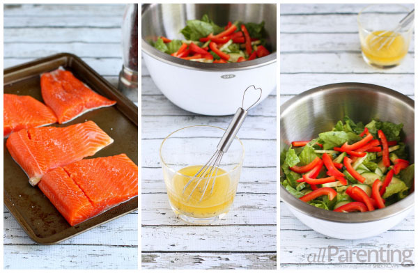 allParenting Grilled salmon dinner salad prep collage