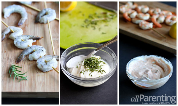 allParenting Grilled shrimp with rosemary yogurt dipping sauce prep collage