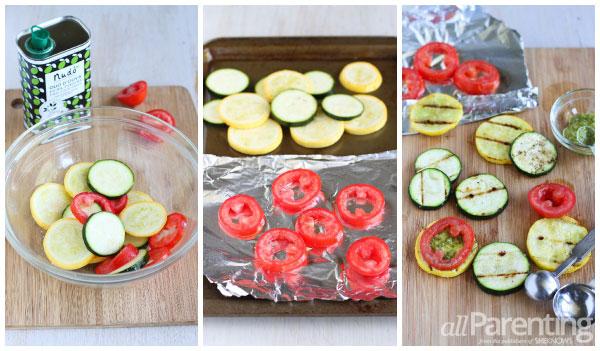 allParenting Zucchini, tomato & pesto stack prep collage