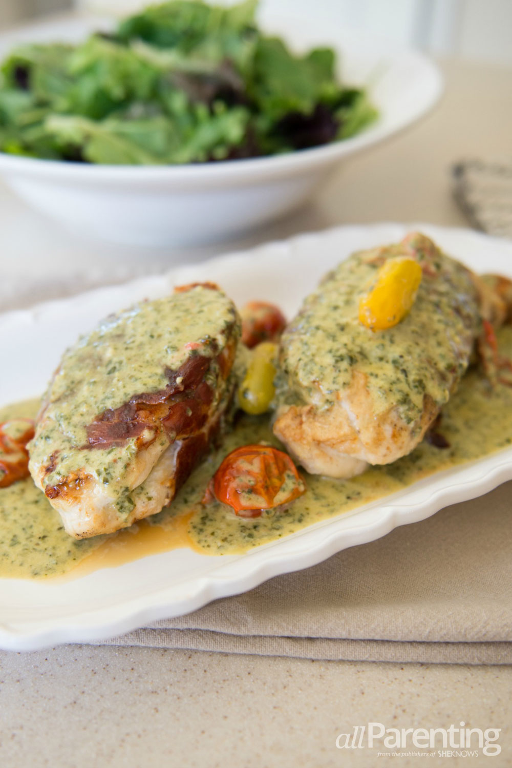 allParenting Prosciutto wrapped chicken with tomatoes and pesto cream sauce