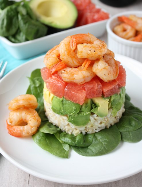 Grapefruit, avocado and shrimp salad