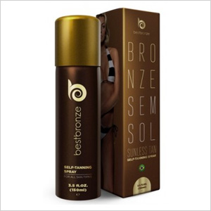 Get the look: Best Bronze Sunless Tan Self-Tanning Spray (bestbronze.com, $54)