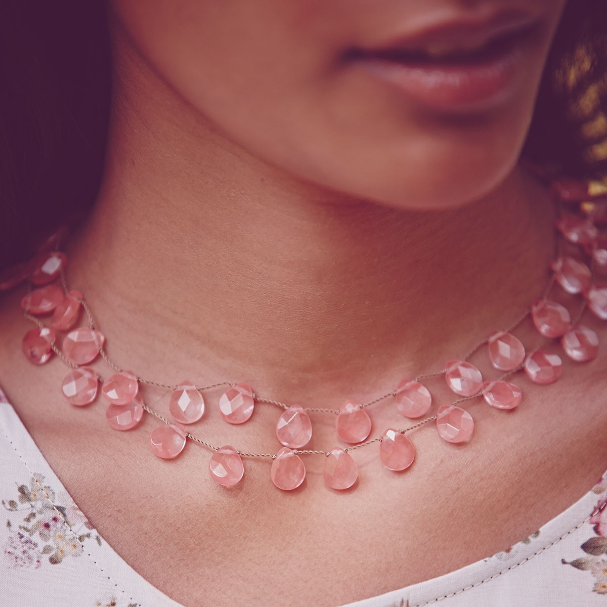 Faceted Strawberry Quartz Teardrop Necklace, $295