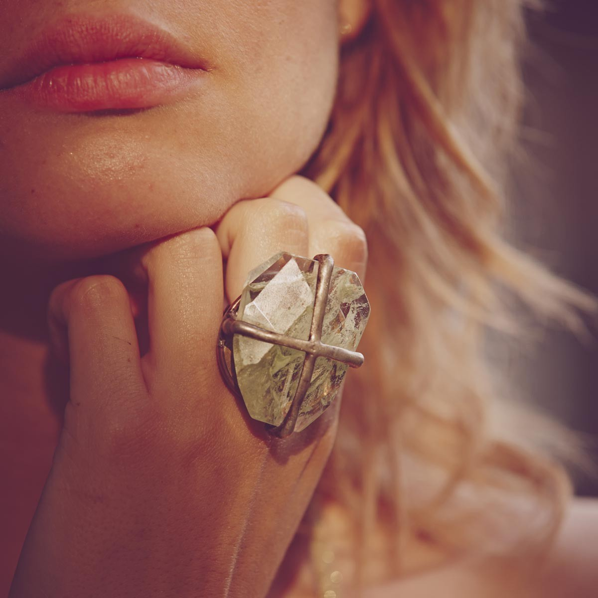 Wire-Wrapped Stone Neutral Ring, $60