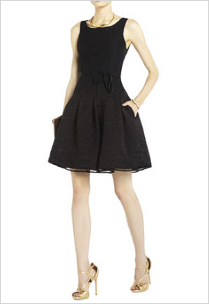 Pleated cut-out little black dress