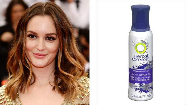 Leighton Meester lurvs using Herbal Essences Tousle Me Gently Spray Gel to refresh her style the next day.