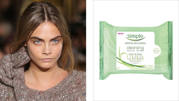 After stomping down the runway, Cara Delevingne keeps her skin refreshed with Simple Kind To Skin Cleansing Wipes