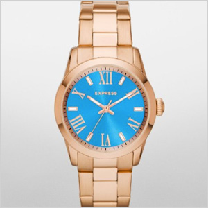 Express Analog Bracelet Watch - Turquoise and Rose Gold (express.com, $128)