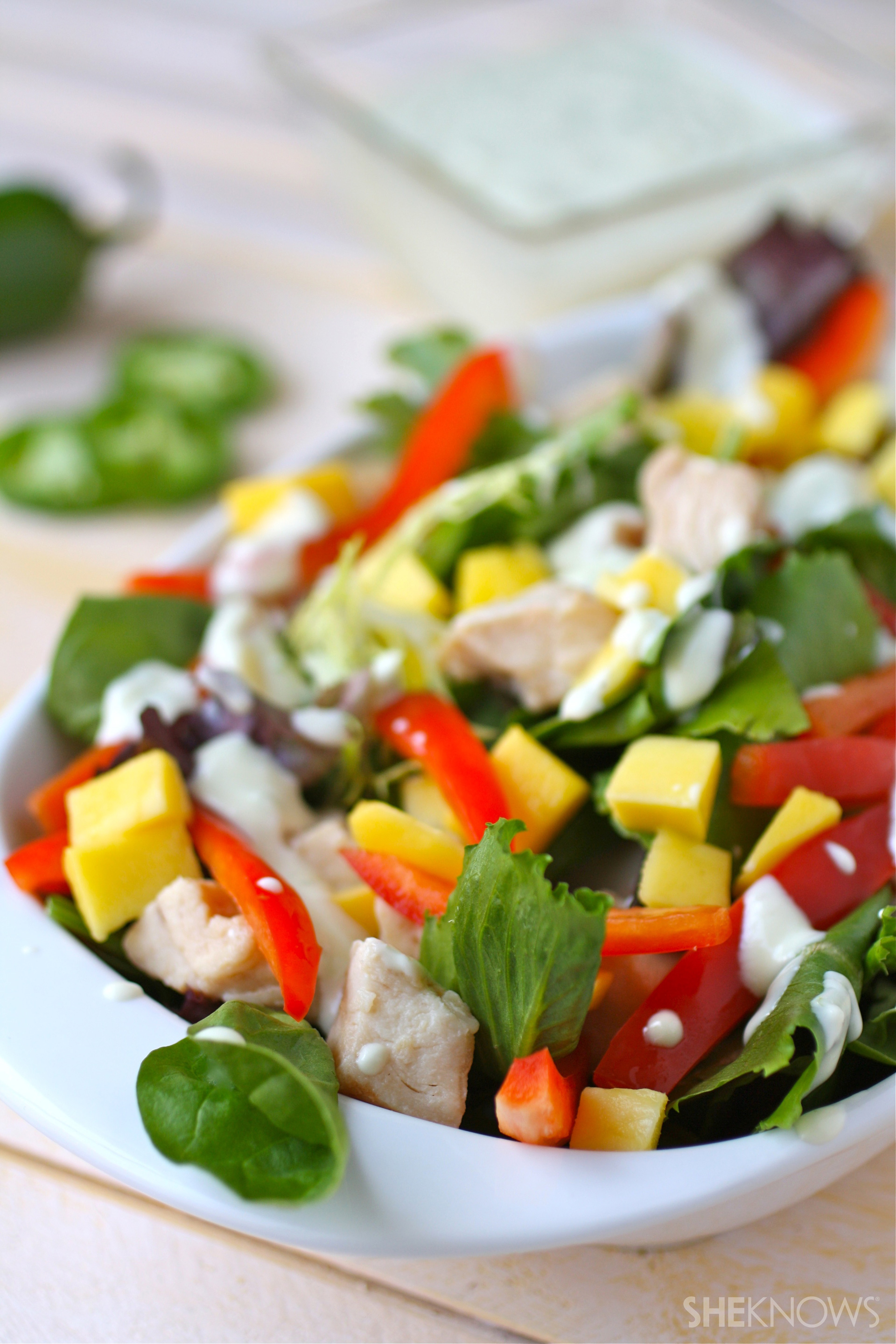 Chicken and mango salad with jalapeno-honey dressing