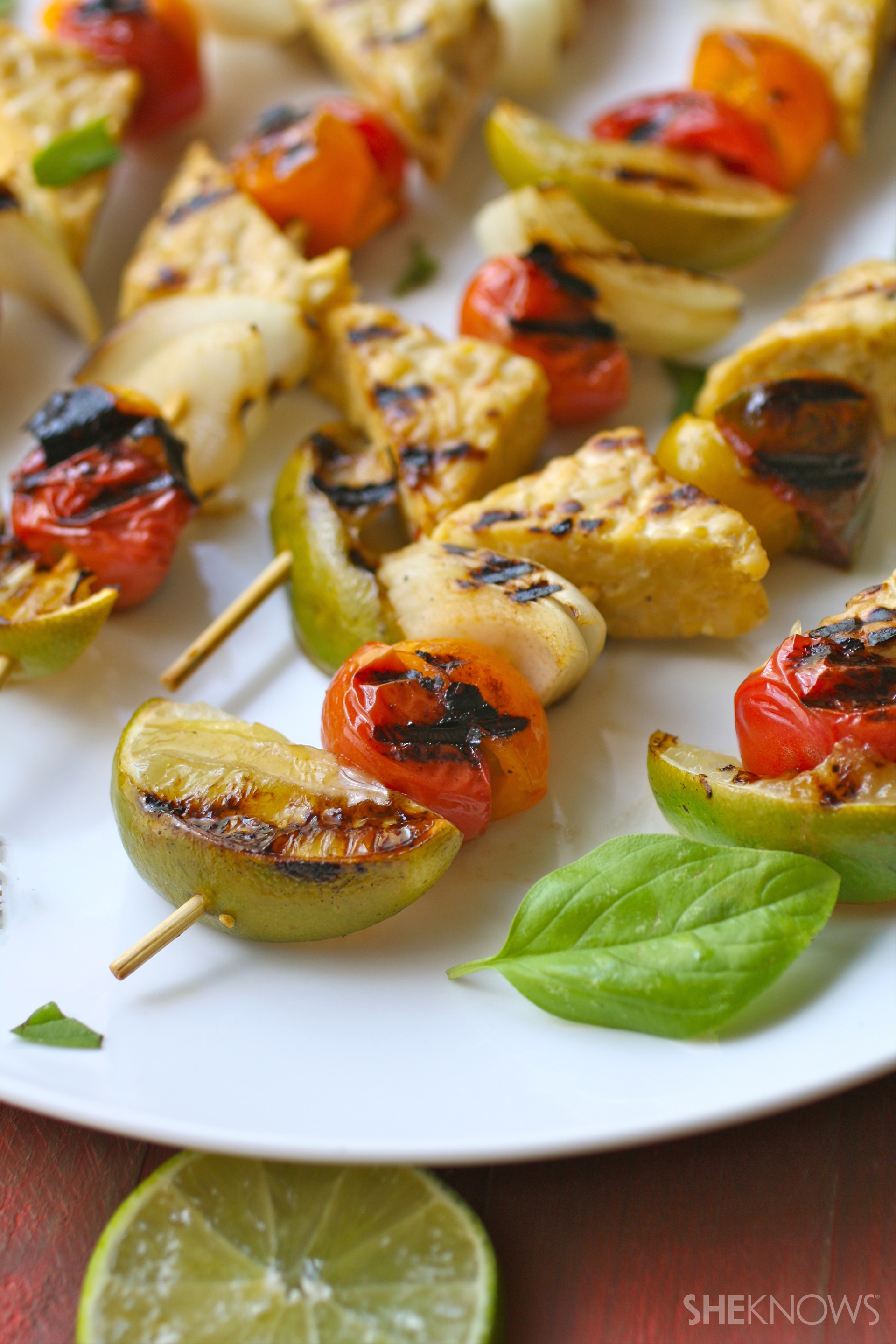 Basil-lime grilled tempeh and tomato skewers