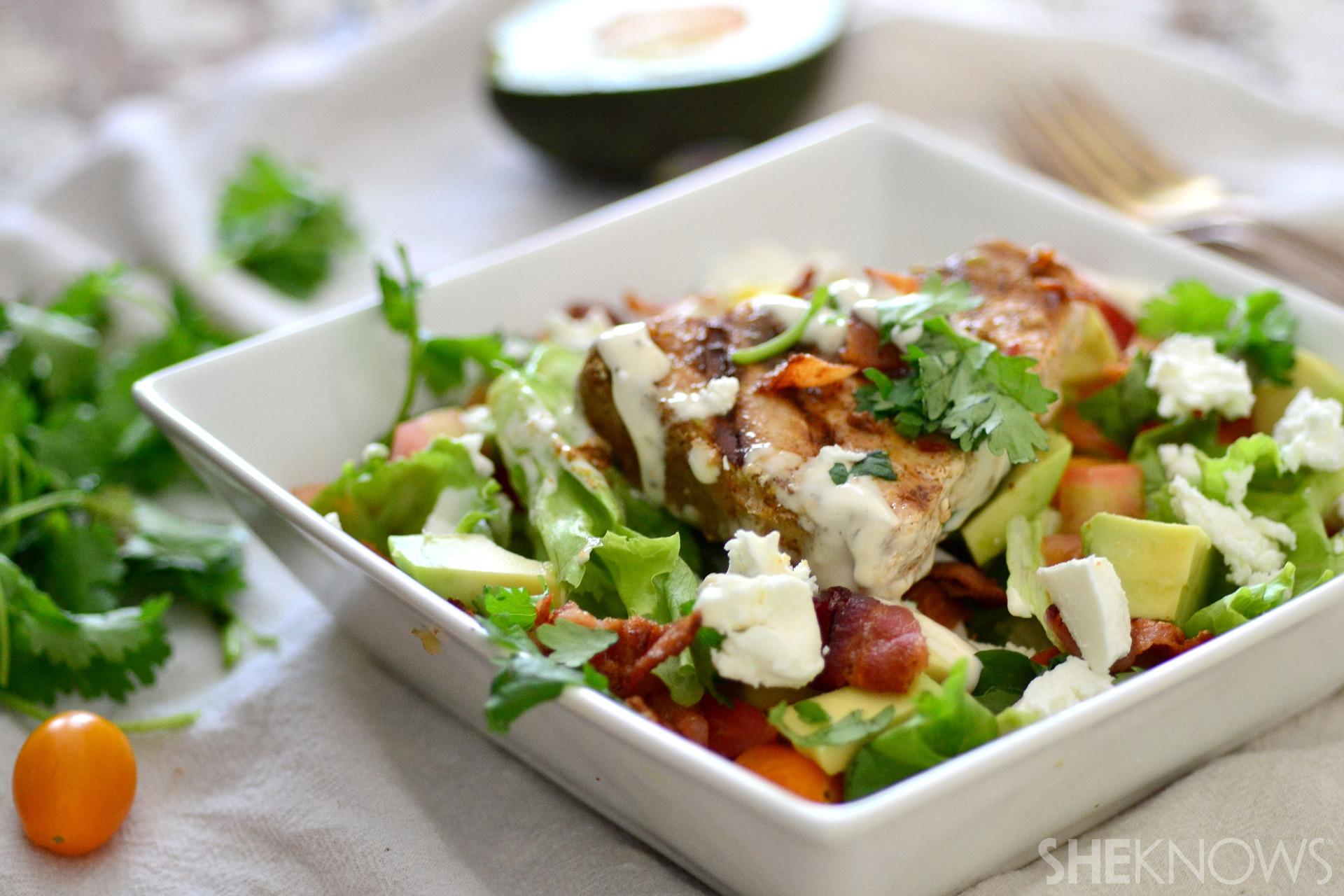Cajun swordfish BLT salad