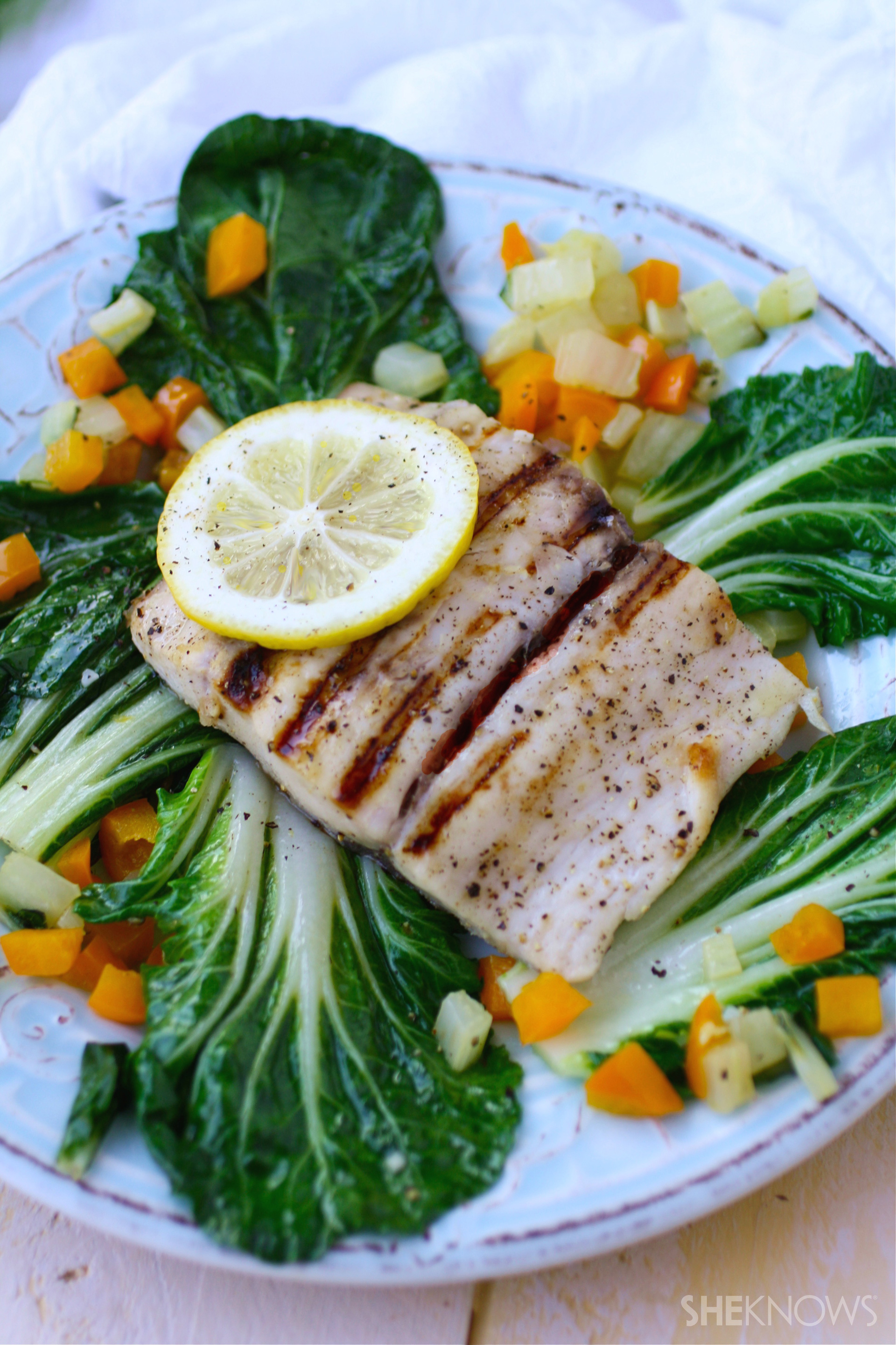 Grilled lemon-pepper mahi mahi with sautéed bok choy