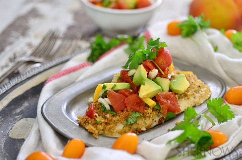 Crispy baked flounder with avocado salsa