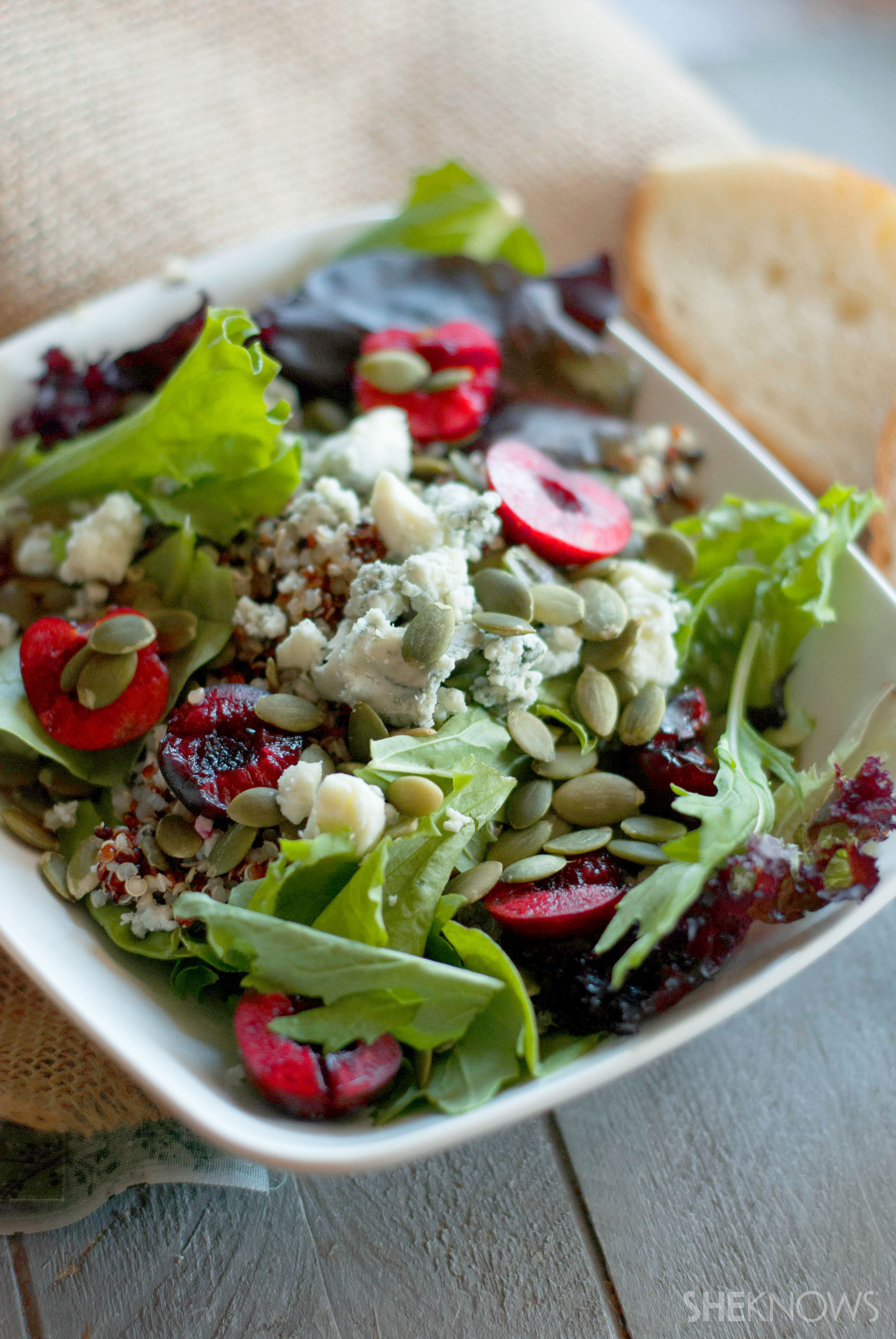 Fresh cherry quinoa salad with pumpkin seeds and Gorgonzola dressing is a hearty, healthy meal1920 x 2868 jpeg 873kB