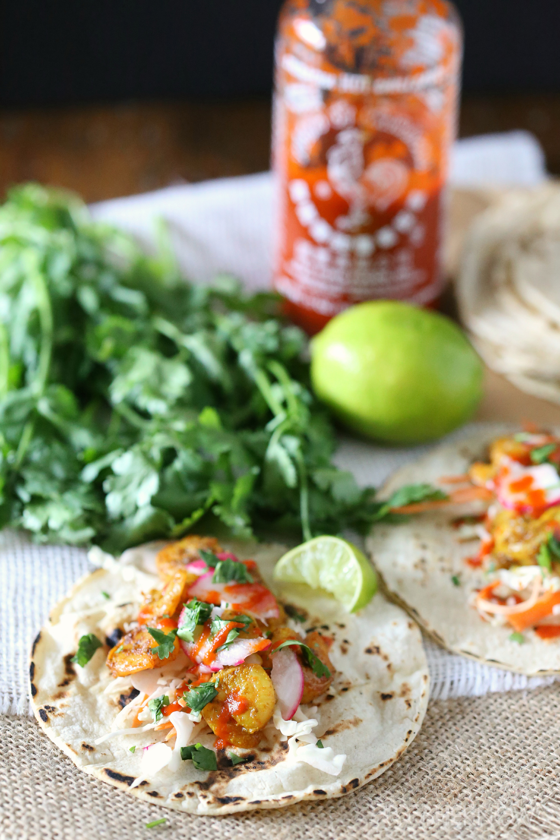 Curried shrimp tacos