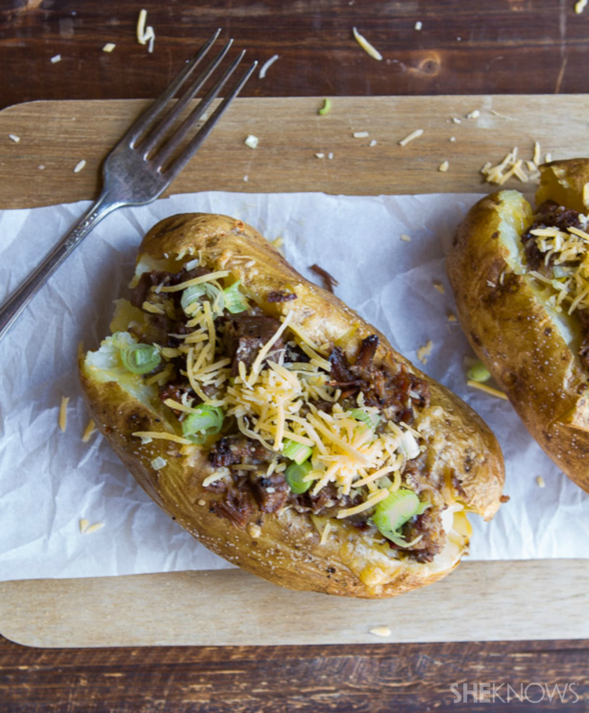 Brisket-and-cheese-stuffed jumbo potatoes. You can thank us later.