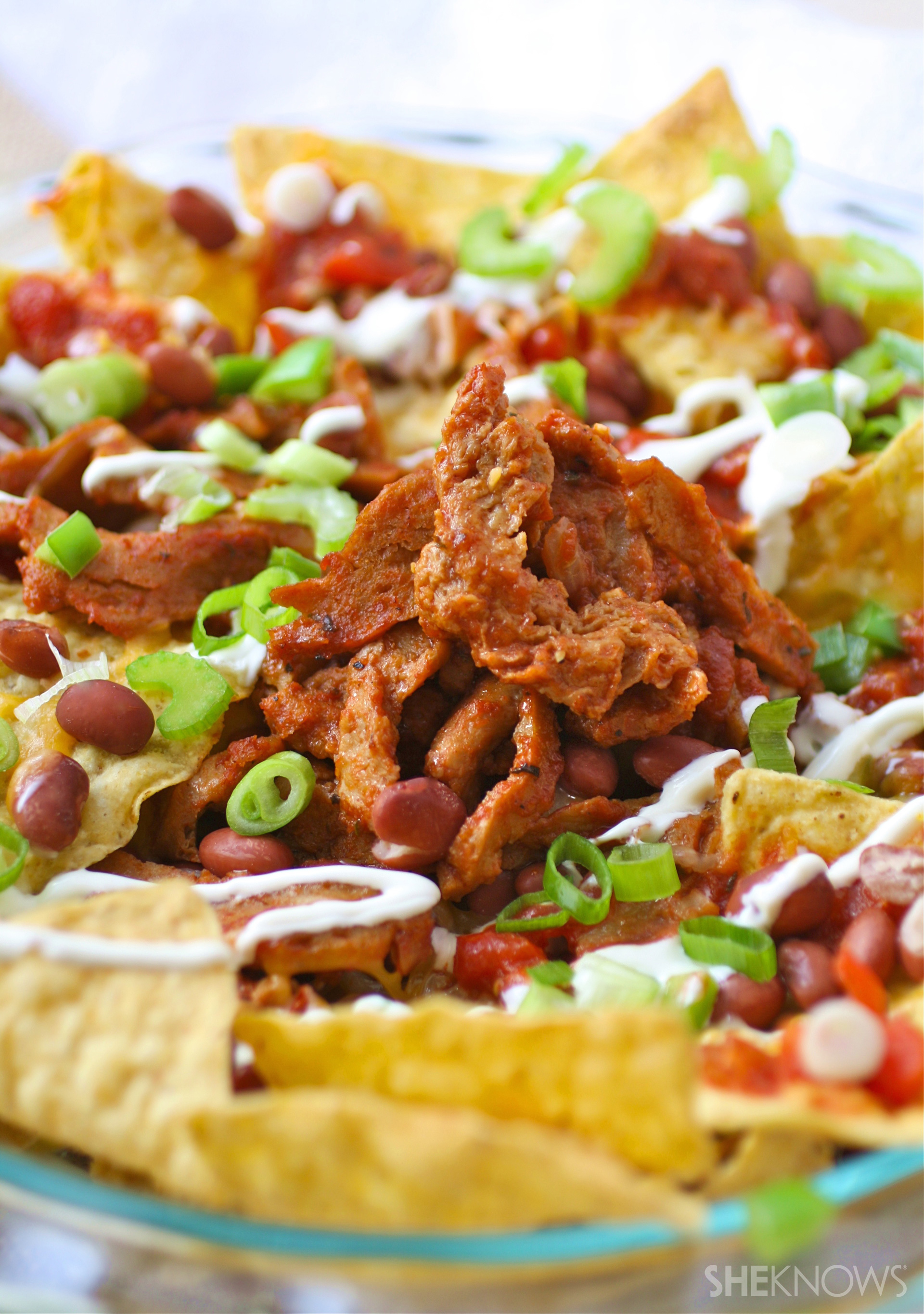 Grab the napkins and dig into meatless nachos piled high with Cajun flavor