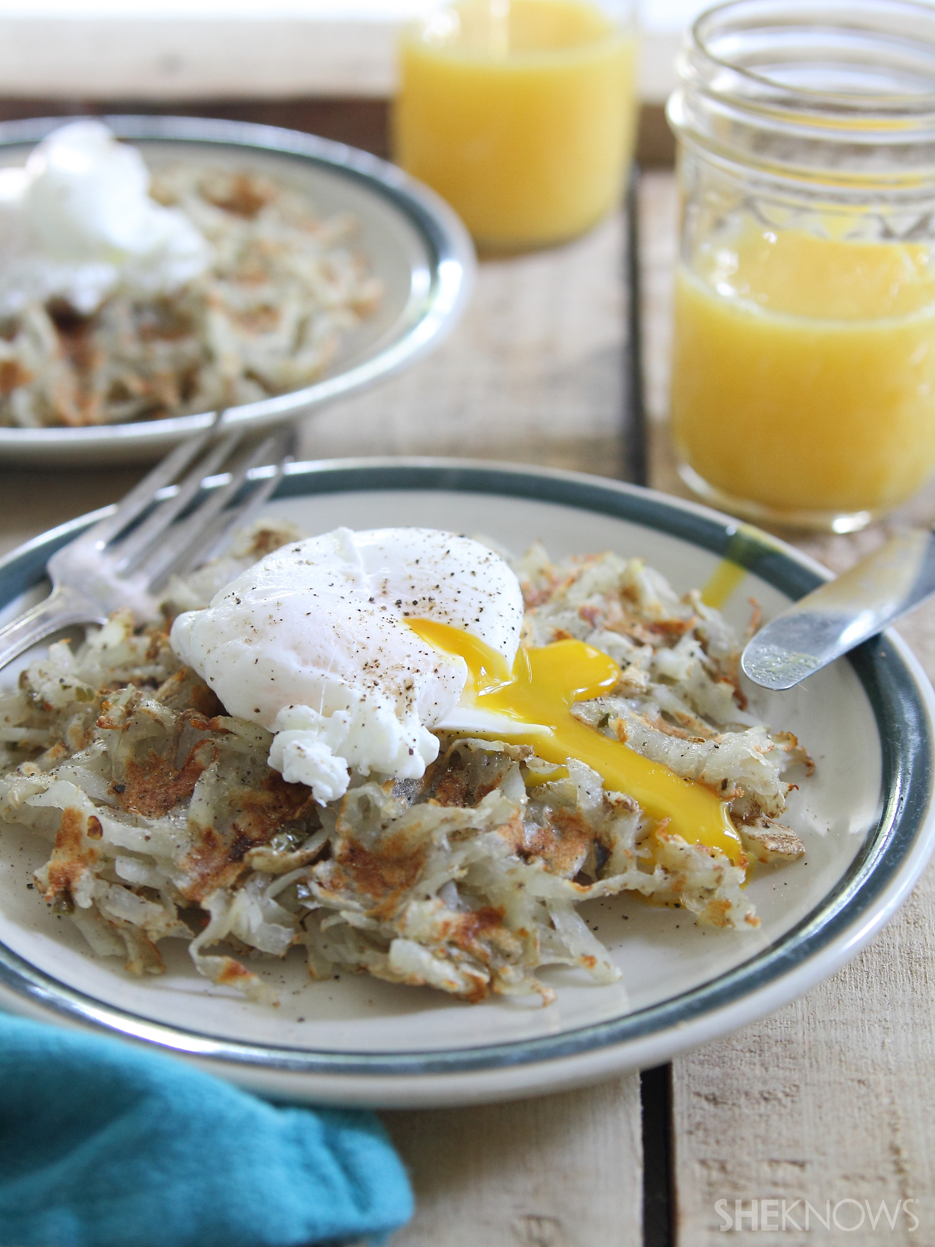 Waffle iron hashbrowns with poached eggs