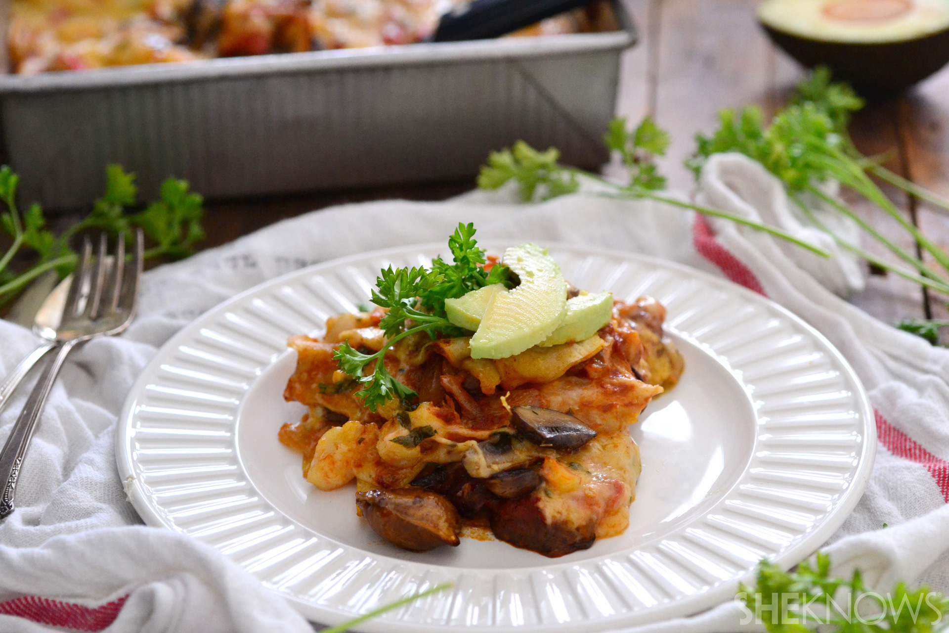 Double cheese mushroom and onion casserole