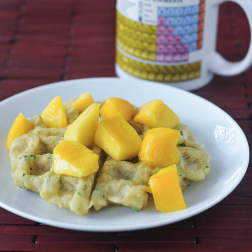 Sweet zucchini waffles with mango