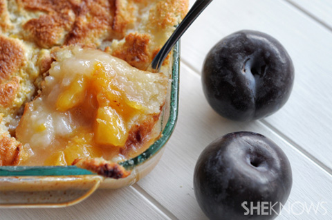 Baked plum and peach cobbler