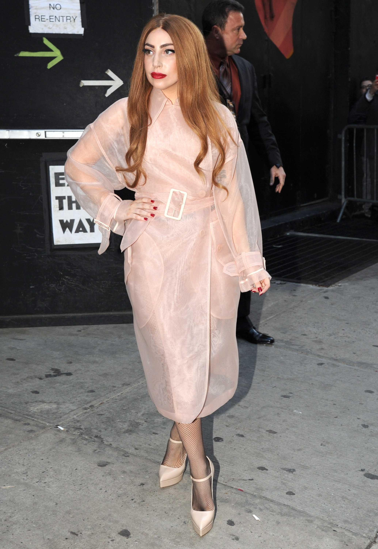 Gaga in a gauzy trench-inspired blush dress