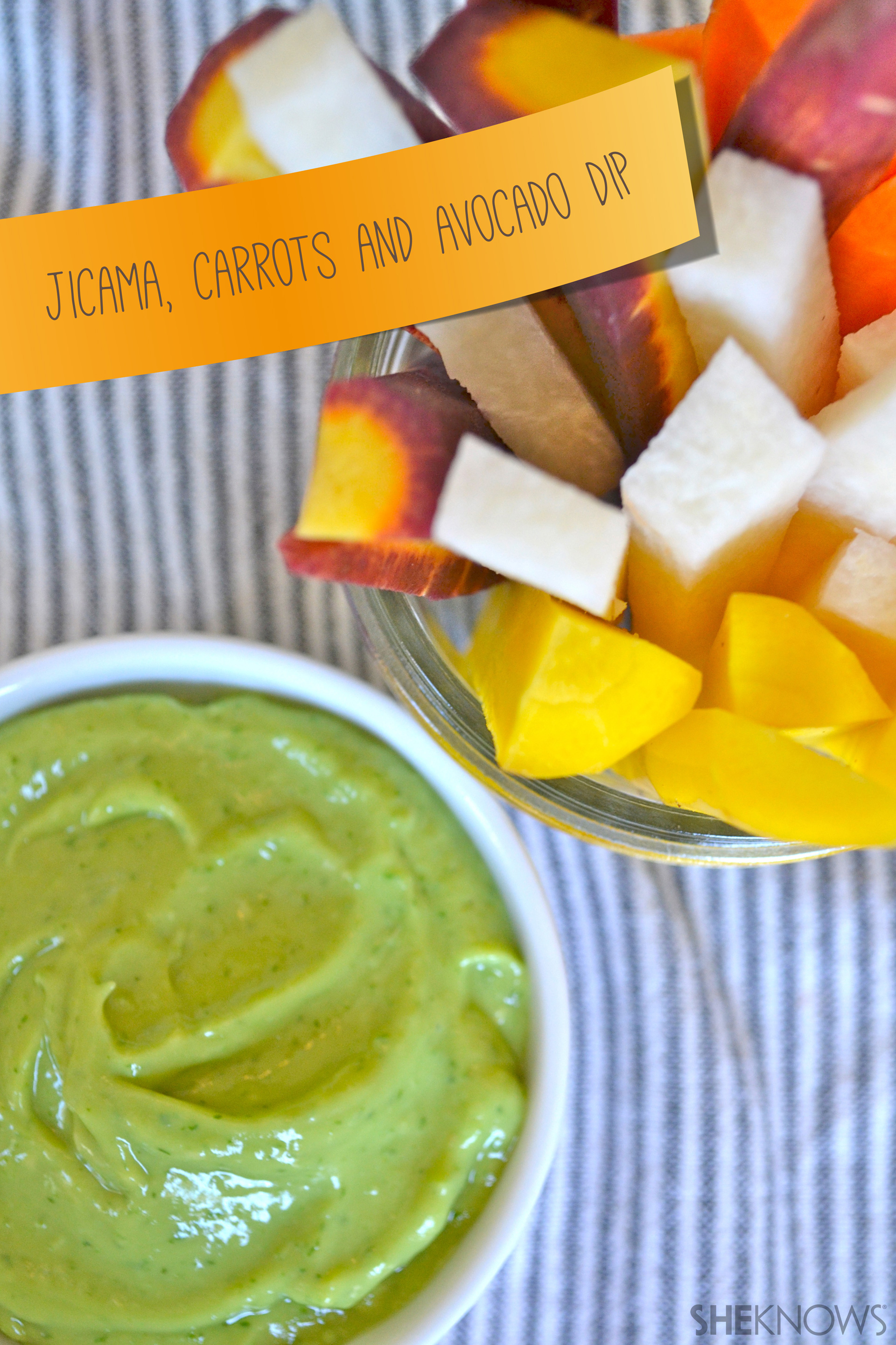 Jicama, Carrots and Avocado Dip