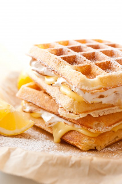 Lemon meringue pie-stuffed waffles recipe