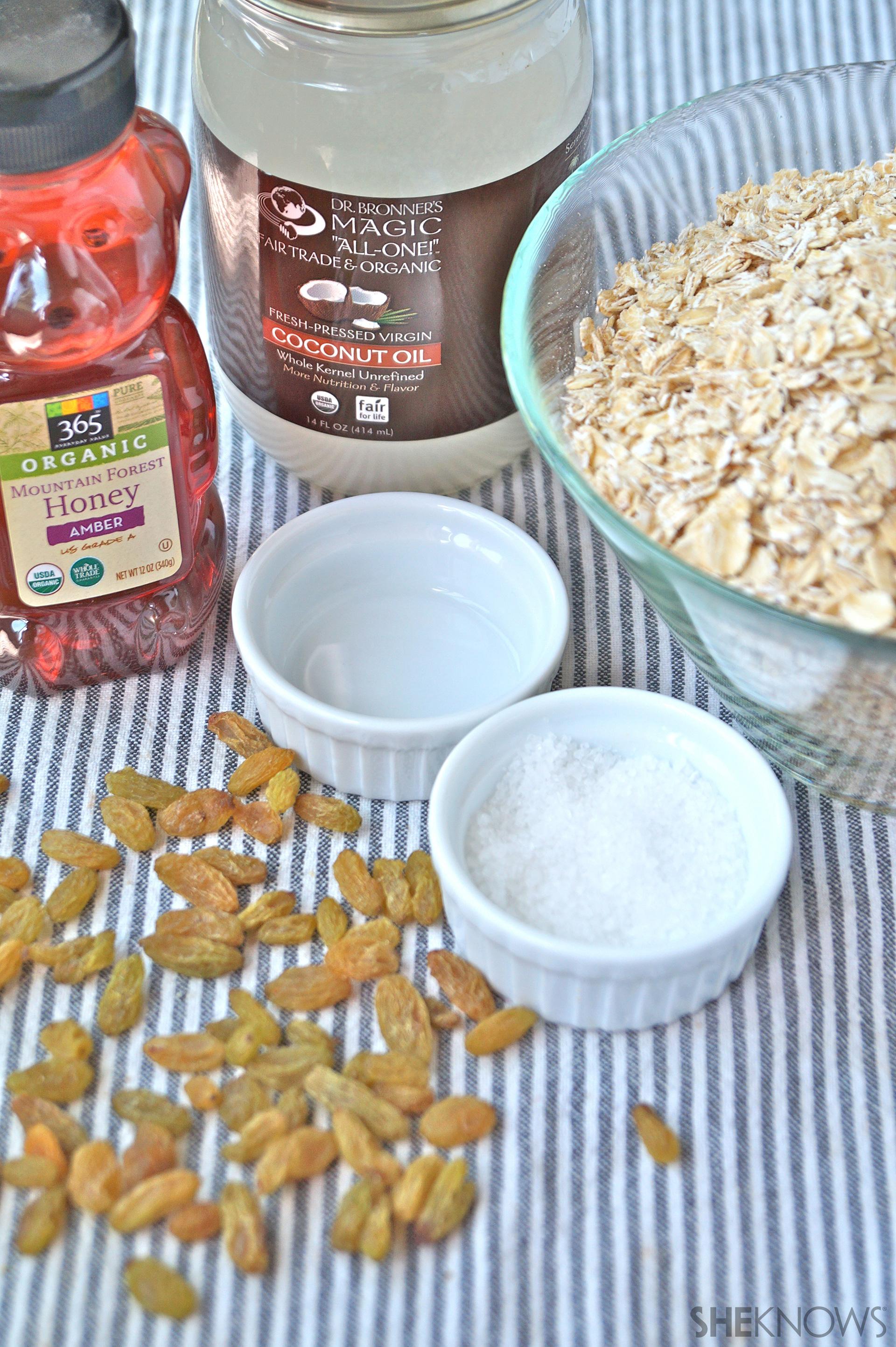 Healthy Honey Granola ingredients