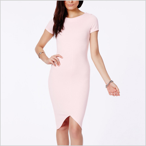 Radima Pink Ribbed Midi Dress