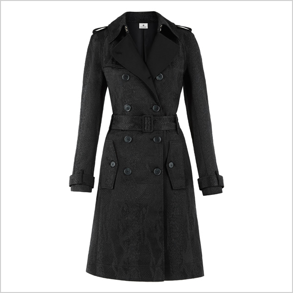 Trench Coat in Black Jacquard