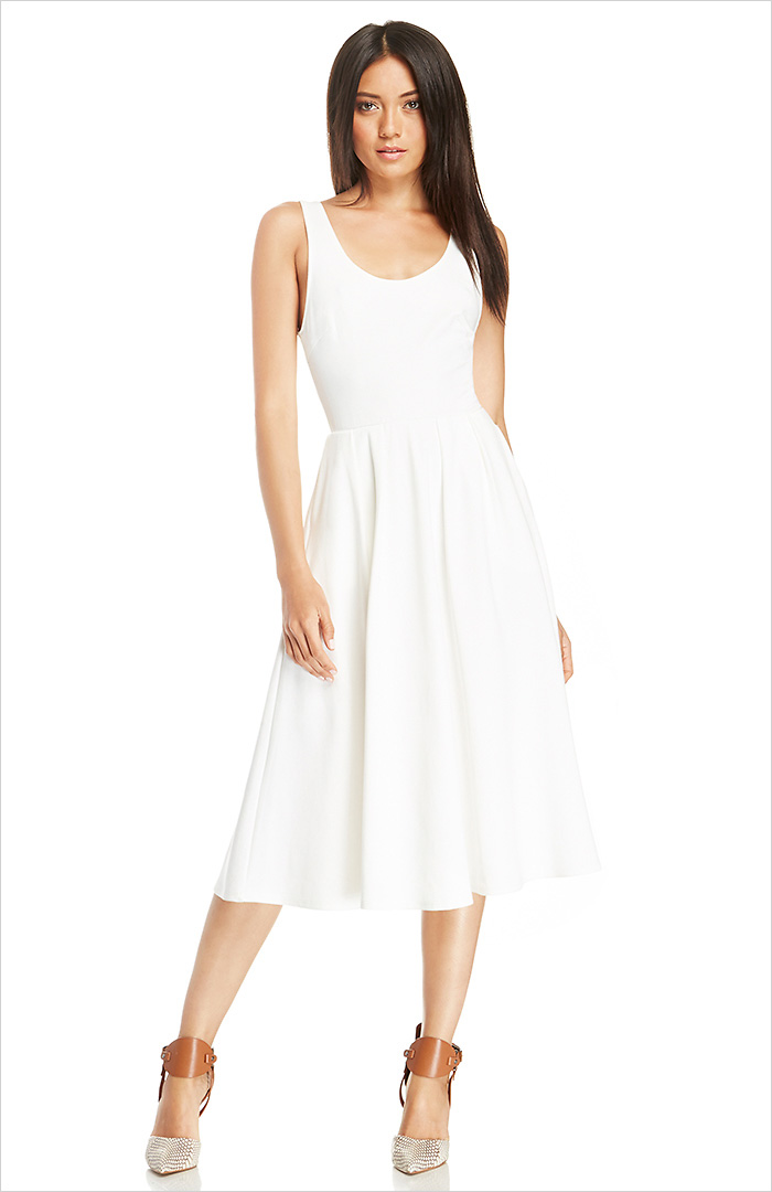 DAILYLOOK Pleated A-Line Midi Dress
