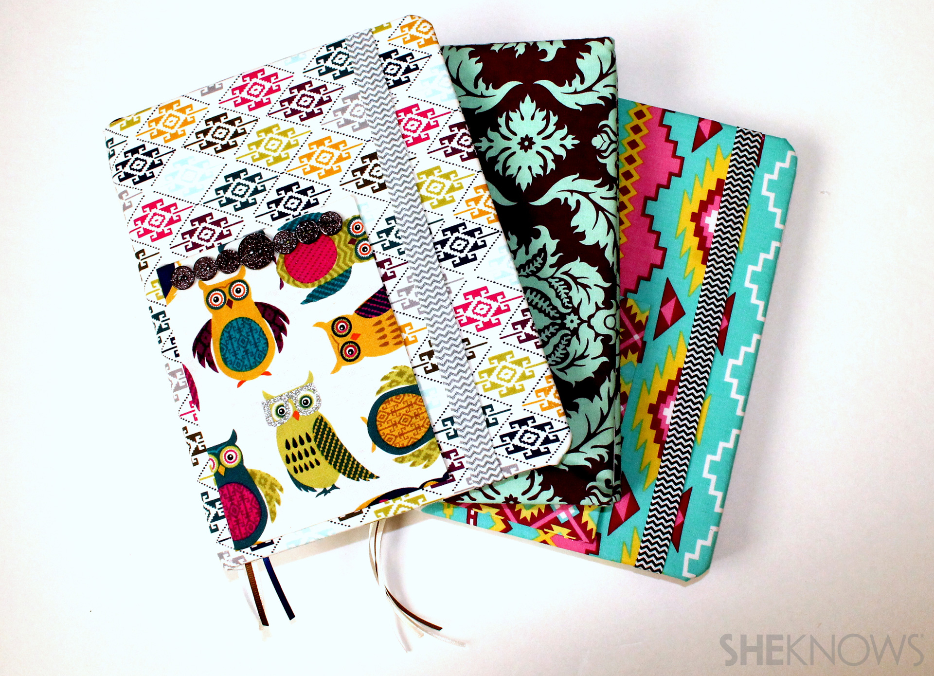fabric covered composition book: Finished