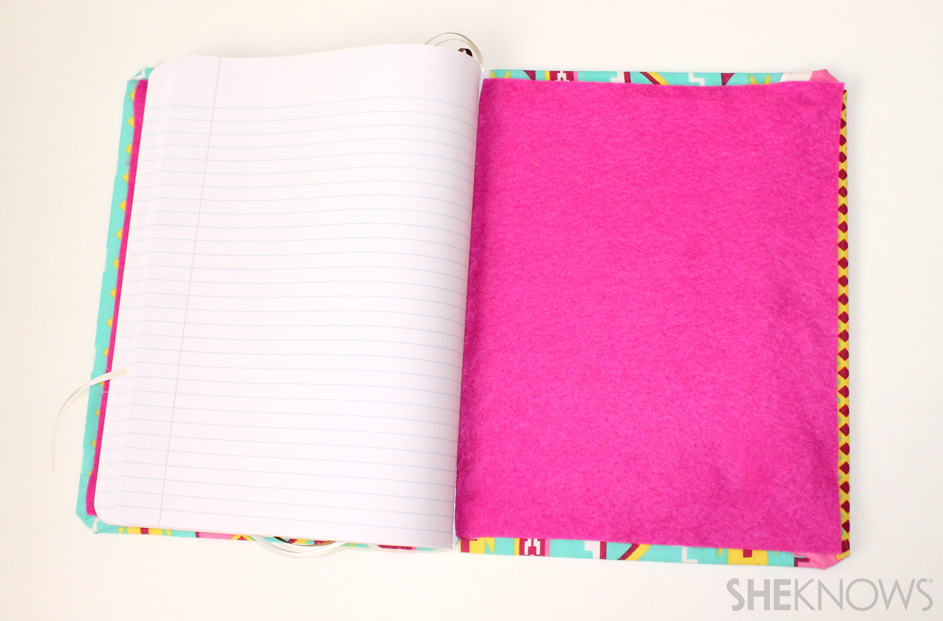Glue Fabric Book Cover ~ Adorable diy notebook craft for teacher