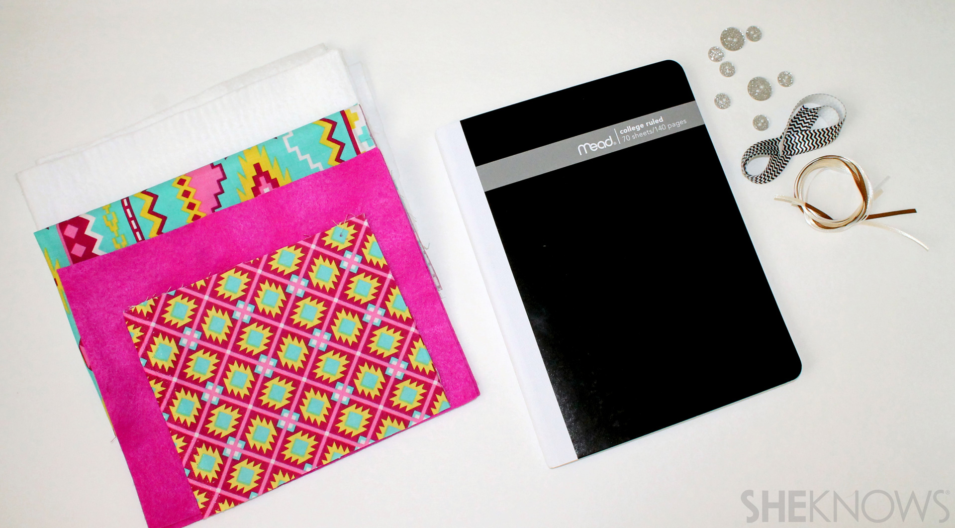 fabric covered composition book: Supplies