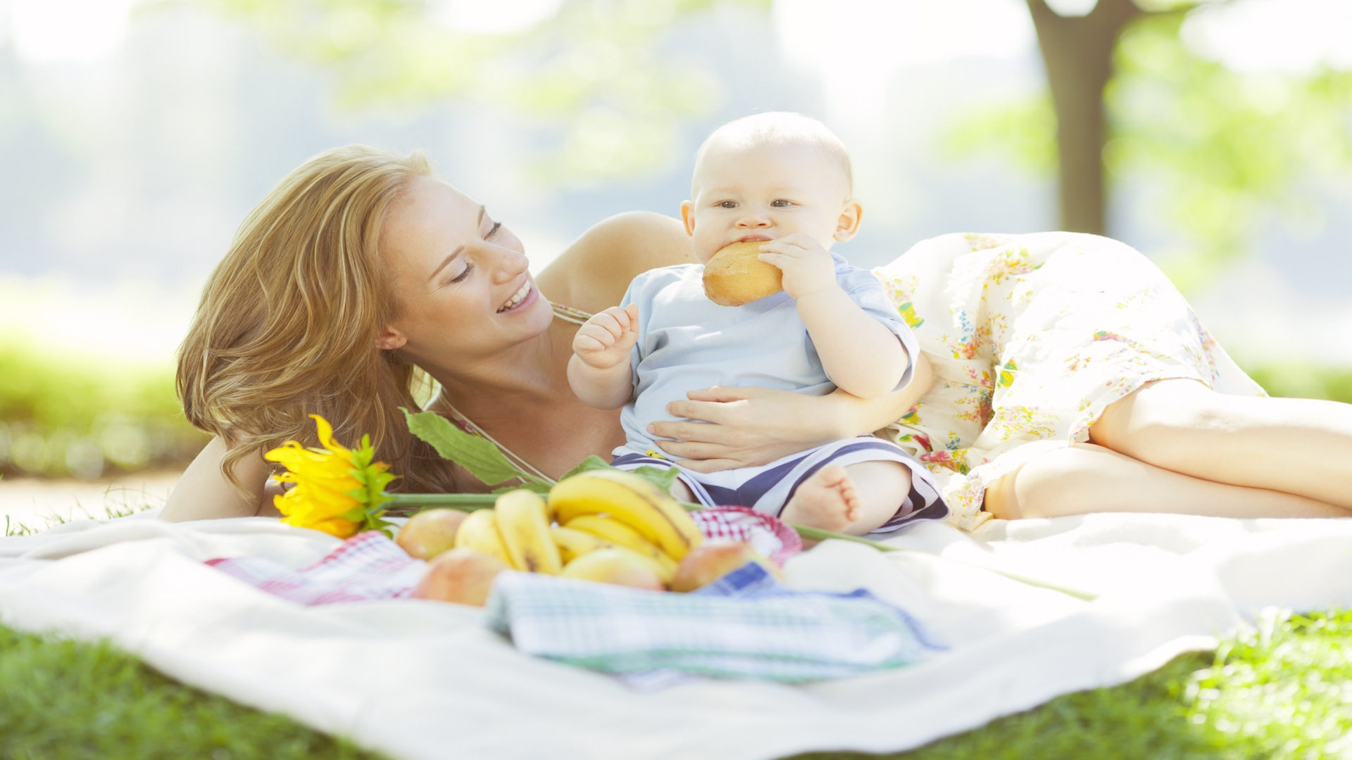 Mom and baby having a picnic