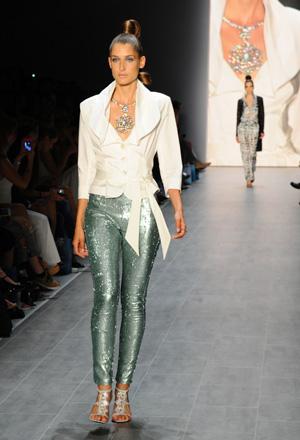 Model wearing metallic pants
