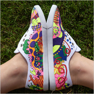 Shoes decorated with doodles