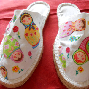 Shoes decorated with Mod Podge
