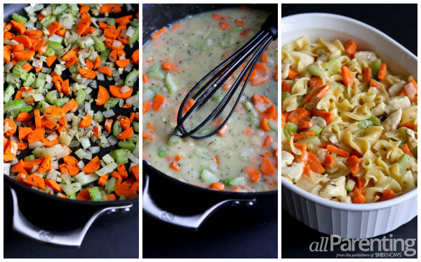 allParenting Chicken noodle casserole prep collage
