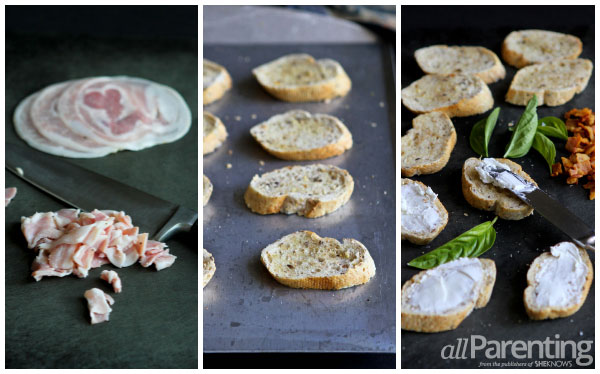 allParenting Crispy pancetta & goat cheese crostini prep collage