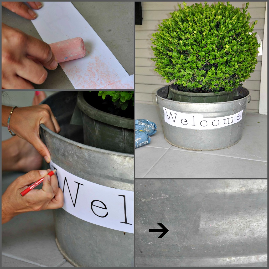 Make a great first impression by stunning your guests with this stenciled planter