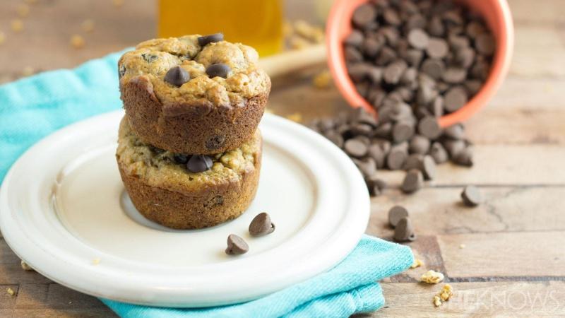 Whole-wheat chocolate and banana muffins