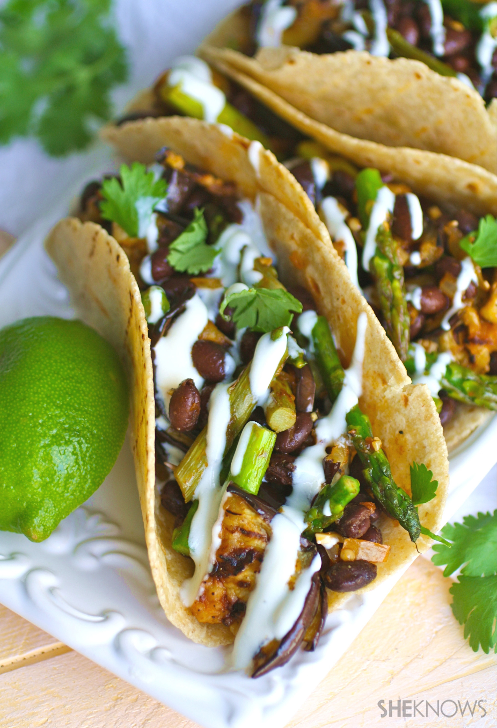 ... tons of flavor to vegan tacos with eggplant, asparagus and black beans