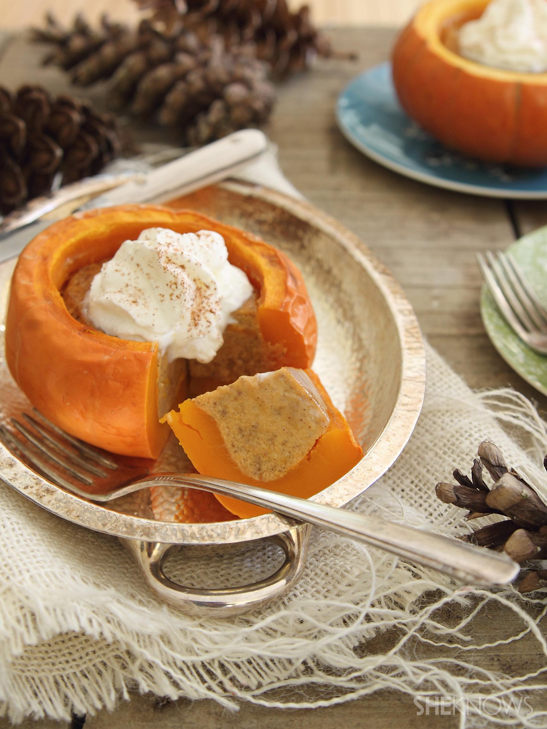 Pumpkin pie in a pumpkin