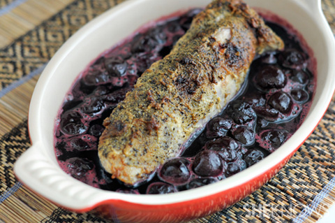Pork loin with roasted cherries