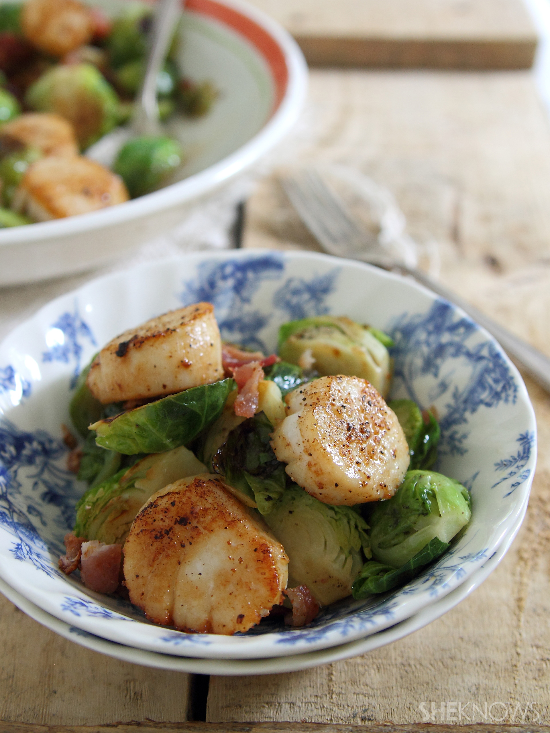Seared scallops with bacon Brussels sprouts recipe