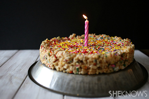 Cake batter Rice Krispies cake
