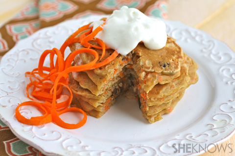 Carrot cake pancakes with coconut whipped topping